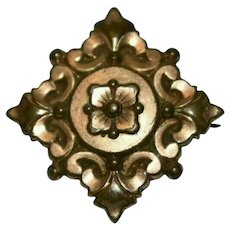 Victorian Aesthetic Period Copper Brooch