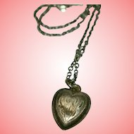 Victorian Silver Heart Pendant Grand Period 5.23 grams