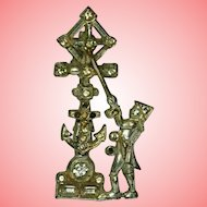 Victorian Anchor and Cross Paste Brooch