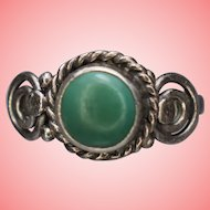 Victorian Silver Turquoise with Scrolled Shoulders Ring Size N 1/2 3.3 grams
