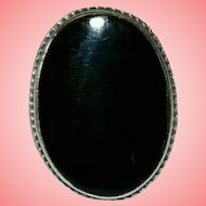 Victorian Black Onyx Silver Fob Ring Size K 1/2 5.79 grams