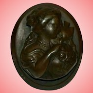 Victorian Vulcanite Brown Memorial Portrait Cameo Brooch Goddess Demeter