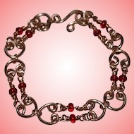 Art Deco Copper and Red Glass Beads Bracelet
