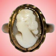 Gold Cameo Ring 1930 by H.G&S Size M 4.0.3 grams