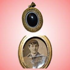 Victorian Mourning Bullseye Agate Portrait Pendant