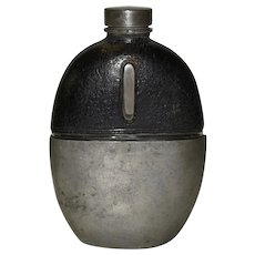 Victorian Pewter Hip flask Leather Covered Glass by James Dixon & Sons