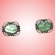 Victorian Silver and Abalone Screwback Filigree Earrings 4.37 grams