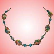 Art Deco Necklace Satin Glass Flower Clusters Necklace