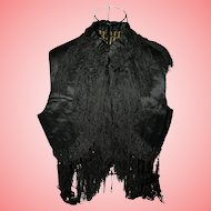 Victorian Silk Mourning Waistcoat with Tassels