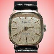 Vintage Bulova 9K White Gold Women 23 Jewels Wrist Watch