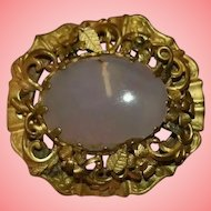 Victorian Moonstone Gilt Brooch Pendant with Hair Panel Space