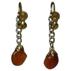 Vintage Amber Screw Back Dangling Earrings