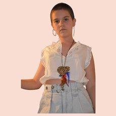 Edwardian White Cotton Lace Embroidered Camisole Crop Blouse Size UK 6