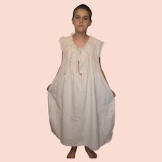Edwardian White Cotton Chemise Nightgown Slip Dress UK 16