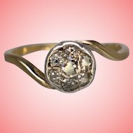 Art Deco Women Old Cut Diamond Set Cluster Ring Size L 1.86 Grams