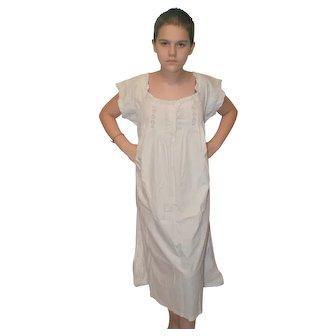 Edwardian or Victorian White Cotton Chemise Nightgown Slip Dress UK 14-16