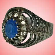 Edwardian Blue Stone Silver Witch's Ring Size P 1/2 5.66 grams