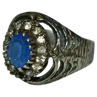Edwardian Blue Stone Silver Witch's Ring Size R 5.66 grams