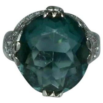 Vintage Sterling Silver Blue Filigree Ring Size Q 4 Grams