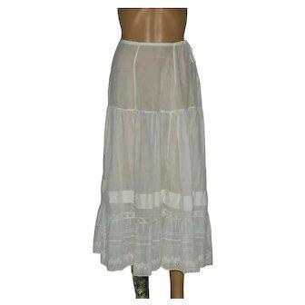 Edwardian White Layered Embroidered Petticoat Size UK 8-10
