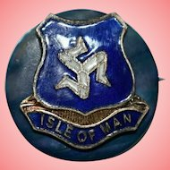 Antique Triskelion Isle of Man Cloisonne Enamel Badge Brooch