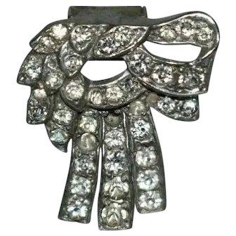 Vintage Art Deco bow fur clip