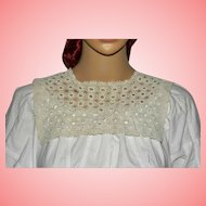 Victorian White Crochet Lace Square Collar