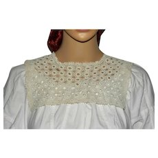 Victorian White Crochet Lace Square Collar