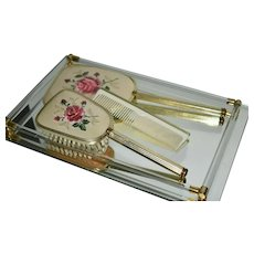 Dressing Table Vanity Set with Embroidered Pink Roses Set of 4