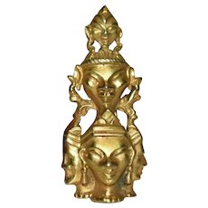 Antique Pre Thai Gilt Deities Trombone Brooch