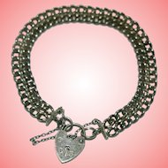 Vintage Silver Heart Padlock Bracelet 17.71 grams