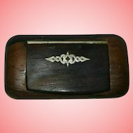 Victorian Rosewood Hinged Snuff Box with Silver Inlay