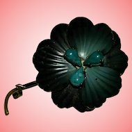 Victorian Turquoise Dark Flower Brooch
