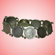 Silver 10 Cents Coins Bracelet Vintage 1930s Wilhelmina Koningin Der Nederlanden