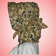 Victorian Floral Prairie Arched Bonnet with Bow Tie