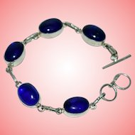 Vintage Silver Bracelet with Royal Blue Cabochon 14 grams