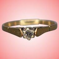 Gold Peg Set Solitaire Engagement Ring Size L 1.48 grams