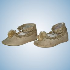 Victorian Doll Shoes or Baby Shoes Linen and Leather