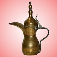 Antique  Dallah Bedouin Persian Brass Coffee Pot with Tughra Mark