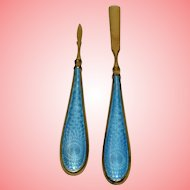 Blue Guilloche Enamel and Brass Manicure Tools