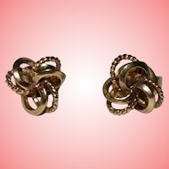 Gold Love Knot Stud Earrings