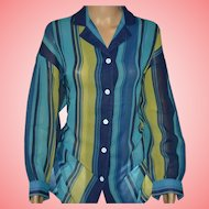 Vintage Jaeger Blue Striped Shirt Size UK 14 US 12