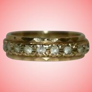 Gold Ring 9 kt Rhinestones Eternity Band Size I 2.66 grams