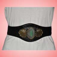Western Wide Leather Belt with Green Cabochon and Brass Decoration