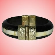 Victorian Ebony Wood and Mother Of Pearl Bangle