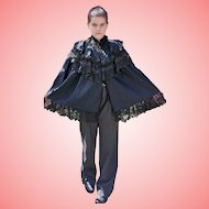 Victorian Black Mourning Cape With Lace and Jet Black Beads Over Jacket