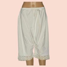 Victorian White Cotton Bloomers With Crochet Hem Size UK 8