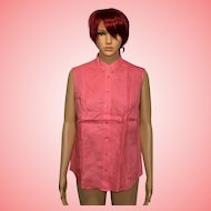 Late 90s Jaeger Coral Colour Ladies Linen Shirt Size UK 14