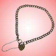 Diamond Cut Gold Bracelet with Heart Padlock 4.86 grams