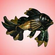 Victorian Dark Fish Antique Brooch